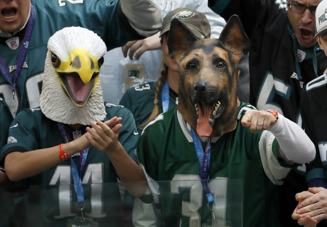 Philadelphia Eagles fans cheer before the NFL Super Bowl 52 football game against the New England Patriots Sunday, Feb. 4, 2018, in Minneapolis.
