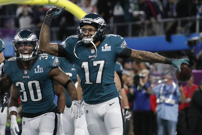 Philadelphia Eagles' Alshon Jeffery (17) celebrates his touchdown catch during the first half of the NFL Super Bowl 52 football game against the New England Patriots Sunday, Feb. 4, 2018, in Minneapolis.