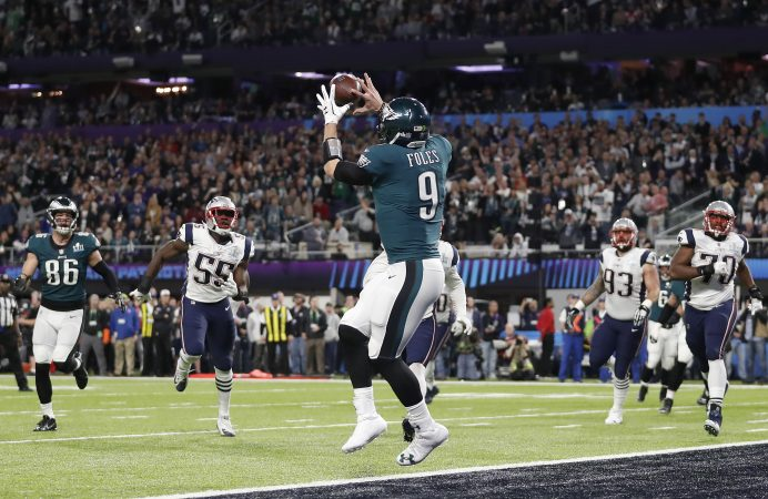 Philadelphia Eagles' Nick Foles catches a touchdown pass during the first half of the NFL Super Bowl 52 football game against the New England Patriots Sunday, Feb. 4, 2018, in Minneapolis. (AP Photo/Jeff Roberson)