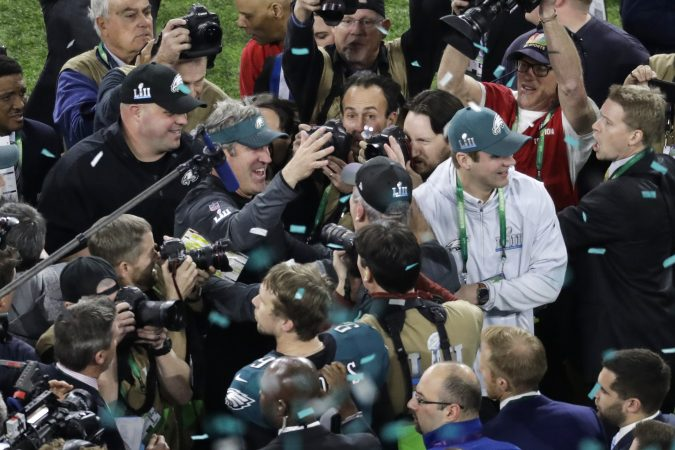 Philadelphia Eagles head coach Doug Pederson celebrates after the NFL Super Bowl 52 football game against the New England Patriots Sunday, Feb. 4, 2018, in Minneapolis. The Eagles won 41-33. (AP Photo/Eric Gay)
