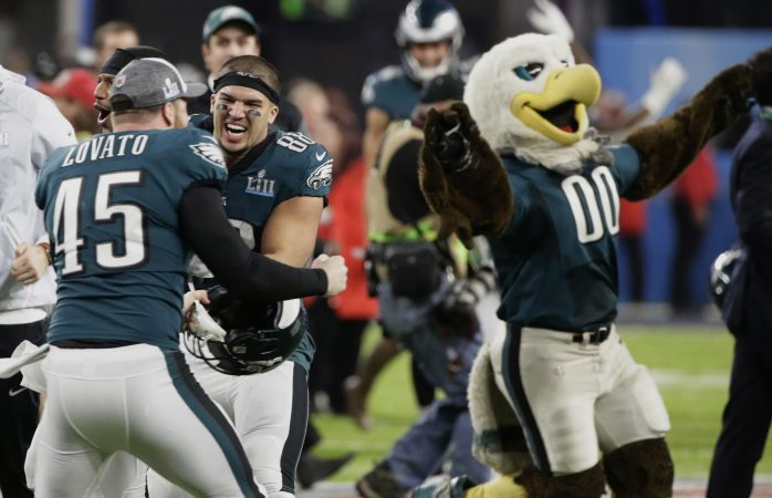 Philadelphia Eagles long snapper Rick Lovato (45) and tight end Trey Burton (88) celebrate after winning the NFL Super Bowl 52 football game against the New England Patriots Sunday, Feb. 4, 2018, in Minneapolis. The Eagles won 41-33. (AP Photo/Frank Franklin II)