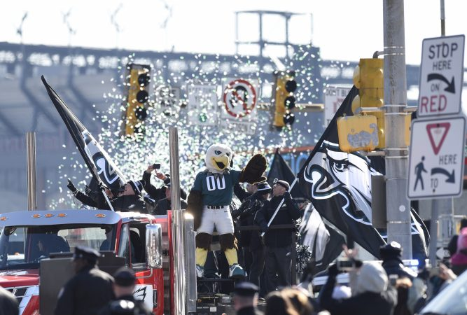 Philadelphia Eagles NFL football team mascot Swoop waves during the Super Bowl LII victory parade, Thursday, Feb 8, 2018, in Philadelphia. (AP Photo/Michael Perez)