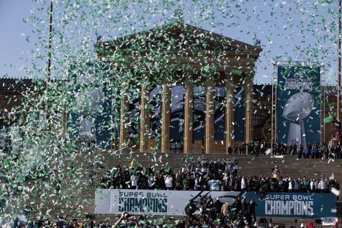 Confetti flies to end a celebration in front of the the Philadelphia Museum of Art after a Super Bowl victory parade for the Philadelphia Eagles football team, Thursday, Feb. 8, 2018, in Philadelphia. The Eagles beat the New England Patriots 41-33 in Super Bowl 52. (AP Photo/Alex Brandon)