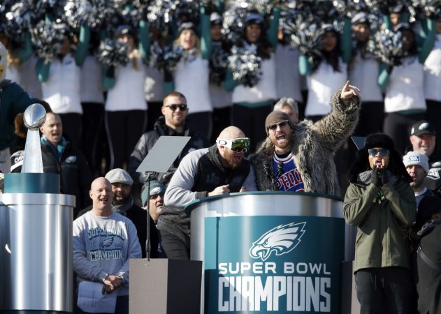 Philadelphia Eagles offensive tackle Lane Johnson, left, and defensive end Chris Long speak in front of the Philadelphia Museum of Art after a Super Bowl victory parade for the Philadelphia Eagles football team, Thursday, Feb. 8, 2018, in Philadelphia. The Eagles beat the New England Patriots 41-33 in Super Bowl 52. (AP Photo/Alex Brandon)