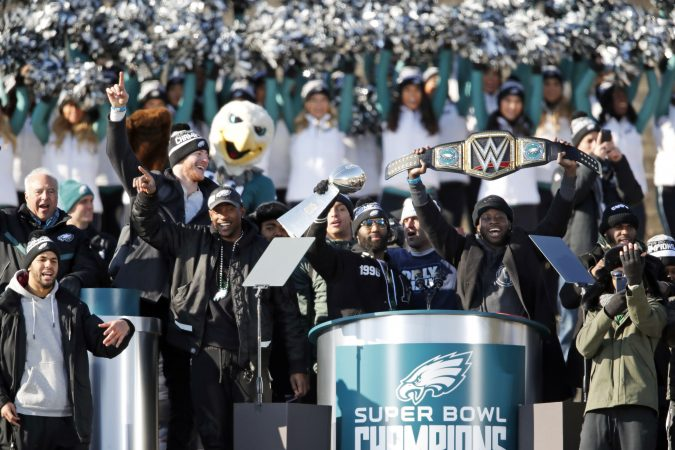 Philadelphia Eagles strong safety Malcolm Jenkins holds the Vince Lombardi trophy as running back Jay Ajayi holds a championship belt in front of the Philadelphia Museum of Art after a Super Bowl victory parade for the Philadelphia Eagles football team, Thursday, Feb. 8, 2018, in Philadelphia. The Eagles beat the New England Patriots 41-33 in Super Bowl 52. (AP Photo/Alex Brandon)