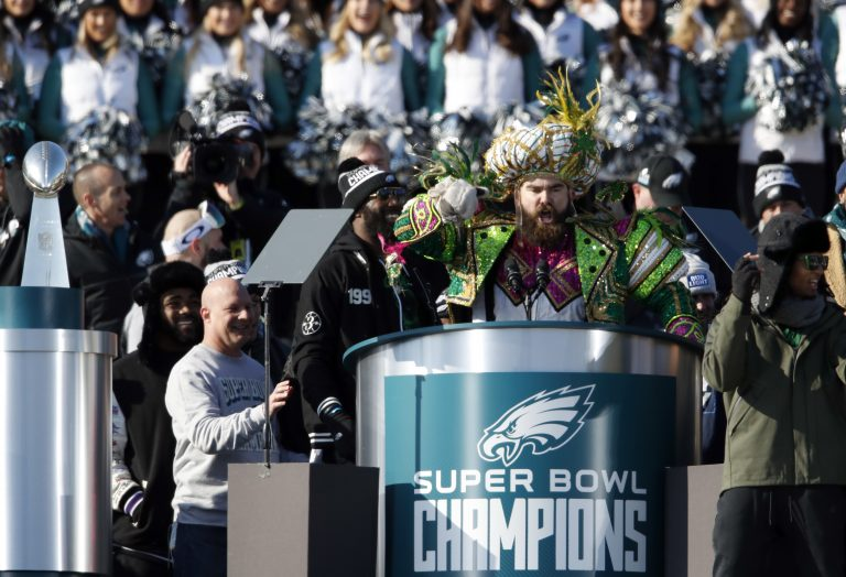 Philadelphia Eagles center Jason Kelce speaks in front of the Philadelphia Museum of Art after a Super Bowl victory parade for the Philadelphia Eagles football team, Thursday, Feb. 8, 2018, in Philadelphia. The Eagles beat the New England Patriots 41-33 in Super Bowl 52. (AP Photo/Alex Brandon)