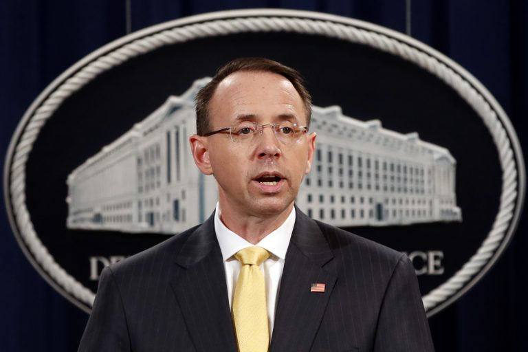Deputy Attorney General Rod Rosenstein, speaks to the media with an announcement that the office of special counsel Robert Mueller says a grand jury has charged 13 Russian nationals and several Russian entities, Friday, Feb. 16, 2018, in Washington. The defendants are accused of violating U.S. criminal laws to interfere with American elections and the political process. (Jacquelyn Martin/AP Photo)