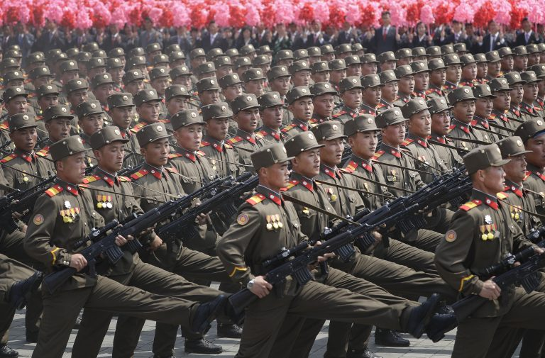 Soldiers march across Kim Il Sung Square during a military parade on Saturday, April 15, 2017, in Pyongyang, North Korea to celebrate the 105th birth anniversary of Kim Il Sung, the country's late founder and grandfather of current ruler Kim Jong Un.