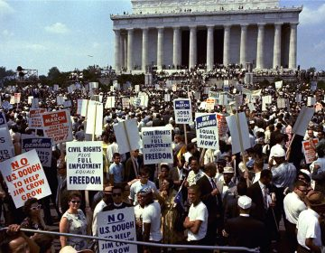 Crowds are shown in front of the Lincoln Memorial during the March on Washington for Jobs and Freedom, August 28, 1963.