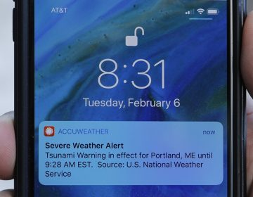 In this Thursday, Feb. 8, 2018 photo Jeremy DaRos shows the erroneous tsunami alert he received on his phone on Tuesday, Feb. 6, 2018, in Portland, Maine. DeRos, who lives near the water, said he is concerned that people won't take seriously the emergency alerts they get in an actual crisis. (Robert F. Bukaty/AP Photo)