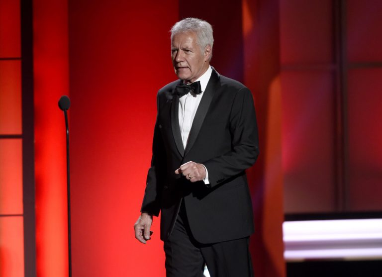 Alex Trebek walks out on stage at the 44th annual Daytime Emmy Awards at the Pasadena Civic Center on Sunday, April 30, 2017, in Pasadena, Calif. (Photo by Chris Pizzello/Invision/AP)