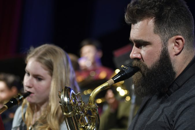 Kelce joins the jazz band of his alma mater, Cleveland Heights High School, on stage during an exchange program visit at Central High School, in Philadelphia, Pa., on February 22, 2018. (Bastiaan Slabbers/for WHYY)