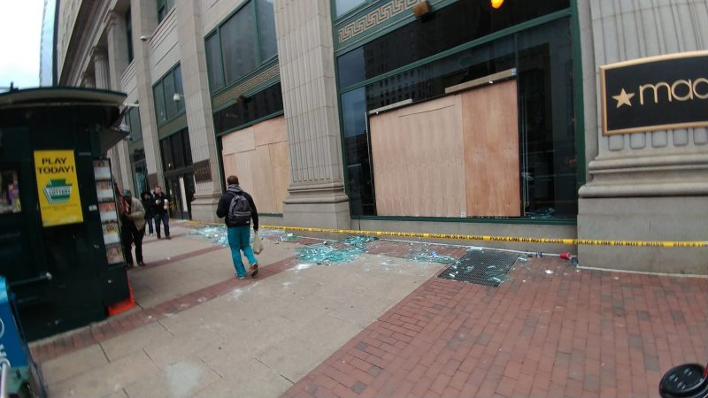 windows broken at Macy's near City Hall from lat night's Super Bowl celebrations.