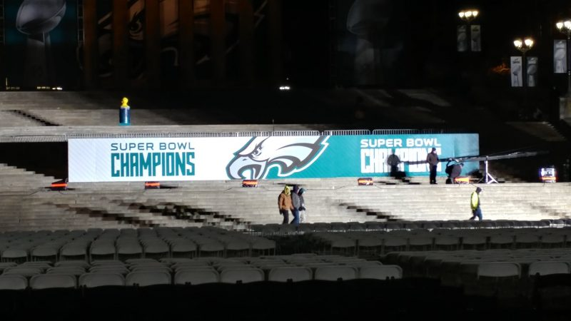 Stage is set for Eagles parade finale (Tom MacDonald/WHYY)