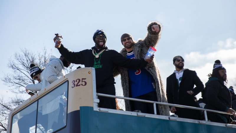Philadelphia Eagles players celebrate on Broad Street during the Super Bowl Championship parade on Feb. 8, 2018. (Lindsay Lazarski/WHYY)