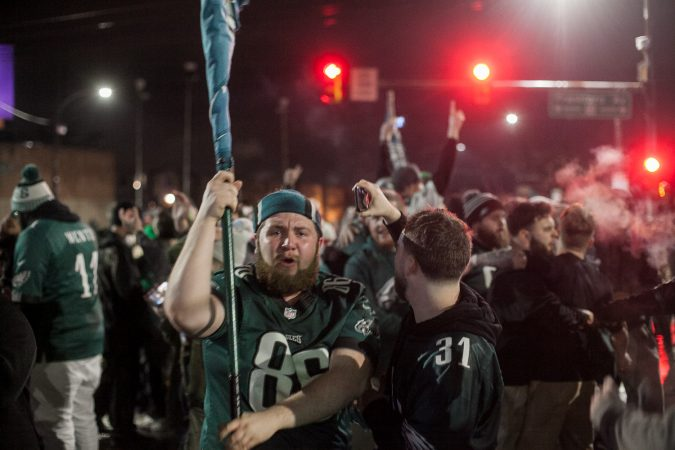 Fans in Northeast Philadelphia flooded Frankford and Cottman Avenue after the Eagles 41-33 win over the New England Patriots to become the 2018 Super Bowl Champions Sunday night. (Brad Larrison for WHYY)