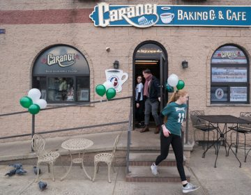 Eagles fans and employees of Carangi Baking Co. & Cafe in South Philadelphia get ready for the Super Bowl on January 4, 2018. (Branden Eastwood for WHYY)