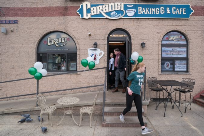 Eagles fans and employees of Carangi Baking Co. & Cafe in South Philadelphia get ready for the Super Bowl on January 4, 2018.