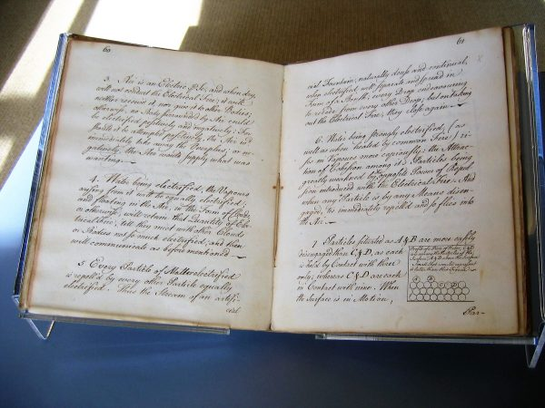 The manuscript by Ben Franklin with his writings on electricity is offered on loan by the American Academy of Arts and Sciences in Cambridge to the American Philosophical Society in Philadelphia as part of a Super Bowl bet between the organizations (American Philosophical Society)