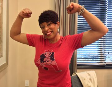 Cherry Hill resident Kimberly Reed, a Boston transplant, is rooting for the New England Patriots in this year's Super Bowl. Many of her friends support the Eagles. (Joe Hernandez/WHYY)