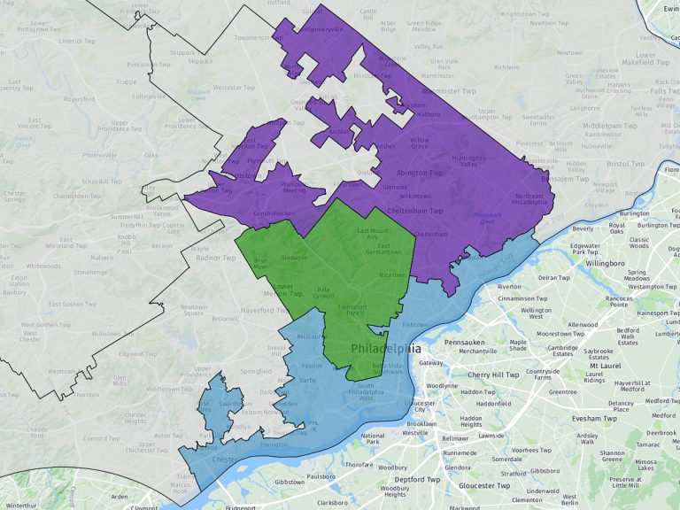 Pennsylvania's 1st, 2nd and 13th Congressional Districts.