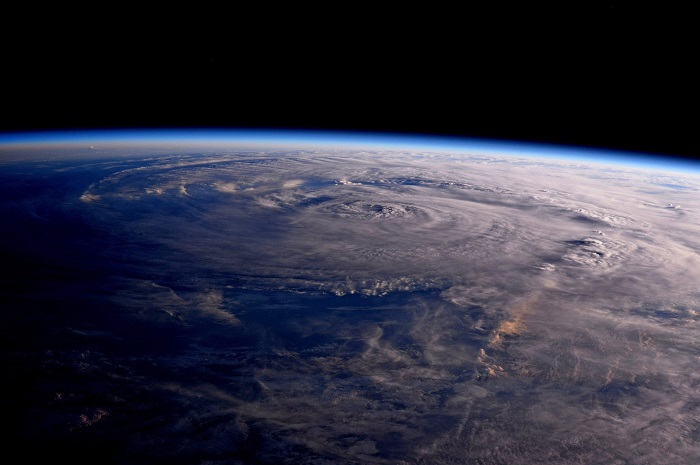 This photo made available by NASA shows Hurricane Harvey over Texas on Saturday, Aug. 26, 2017, seen from the International Space Station. (Jack Fischer/NASA via AP)