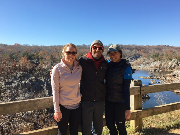 Megan Ritter (left) at Great Falls, outside Washington, D.C., says hiking, going to concerts, and visiting museums keeps her balanced. And she thinks that makes her a better doctor. (Courtesy of Megan Ritter)