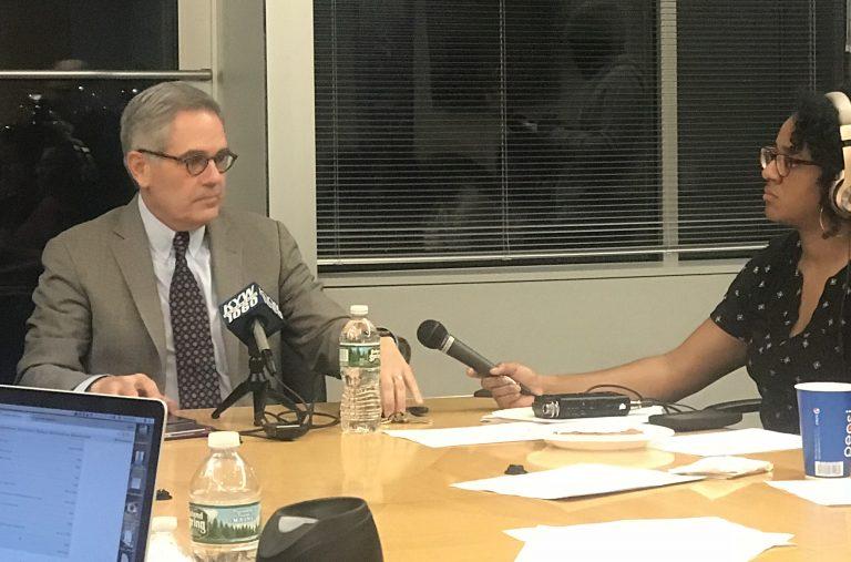 District Attorney Larry Krasner speaks to the Philadelphia Association of Black Journalists Tuesday. (Haniyyah Sharpe-Brown)
