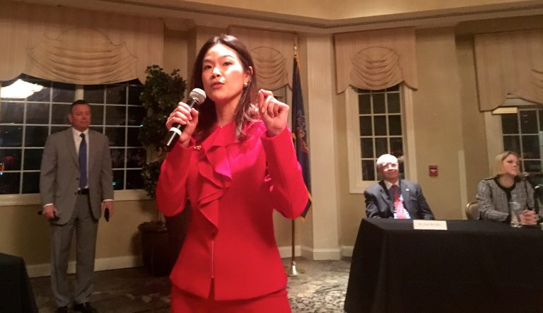 Pearl Kim is one of seven Republican candidates seeking to replace U.S. Rep. Pat Meehan in Pennsylvania's 7th congressional district.  (Dave Davies/WHYY)