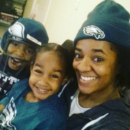 The Nuri family watches as the Eagles win Super Bowl LII (Trenae Nuri/WHYY)