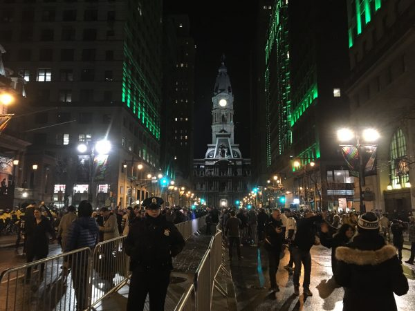 Eagles fans take to Broad Street following the team's Super Bowl win. (Kimberly Paynter/WHYY)