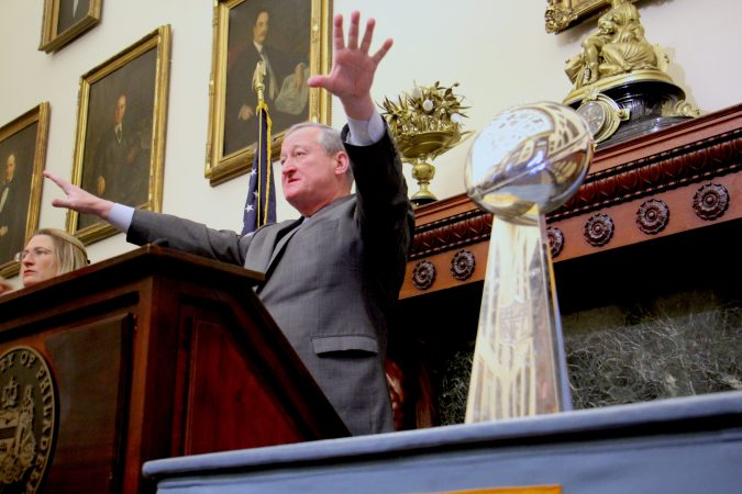 Mayor Jim Kenney announces plans for Super Bowl parade and celebrations in Philadelphia.