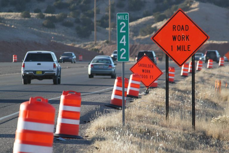 Traffic heads toward a construction zone along Interstate 25 in Bernalillo, N.M.