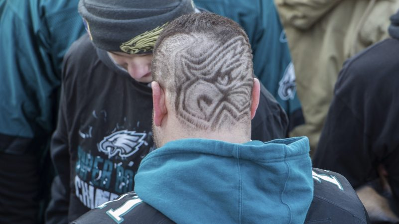 Dominic Dacciaro sports an haircut with the Eagles logo. (Jonathan Wilson for WHYY)