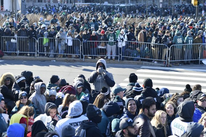 Tens of thousands of Eagles fans gather in Center City to celebrate.