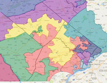 Congressional districts in Southeastern Pennsylvania as they were adopted in 2011 and then ruled unconstitutional by the Pa. Supreme Court in January 2018.  (Google Maps)