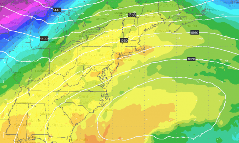 The European model forecast showing warm weather over the New Jersey region on Wednesday morning.