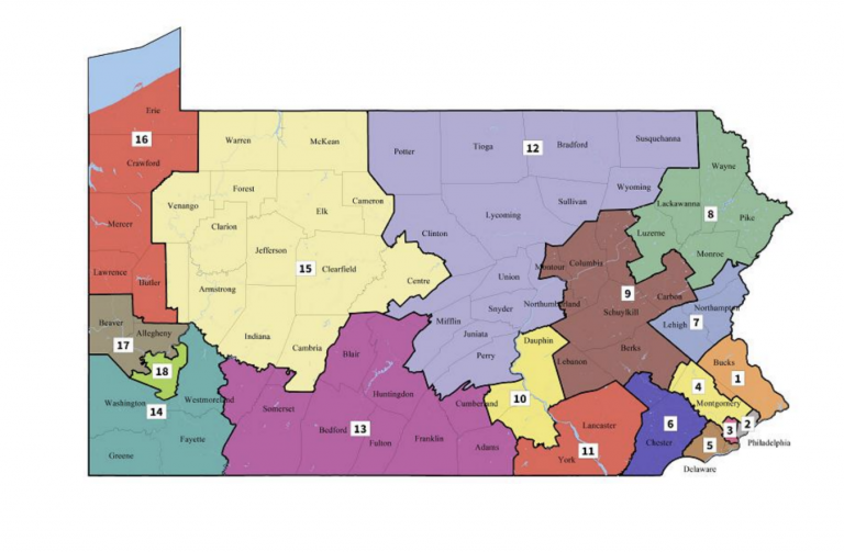 Pennsylvania's new congressional map as drawn by the Pa. Supreme Court.