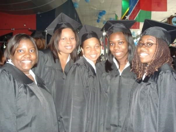 Deanna Jenkins (center) is shown with some of her class of 2007 Spelman classmates