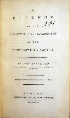 The title page of a book by John Adams that Philadelphia's American Philosophical Society will offer on loan to the American Academy of Arts and Sciences in Cambridge as part of a Super Bowl bet between the organizations (American Philosophical Society)
