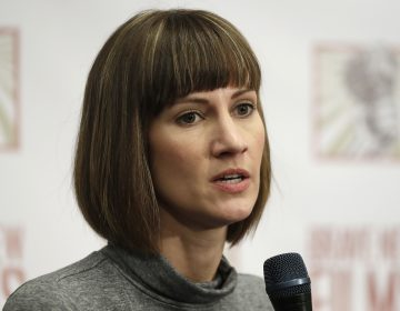 Rachel Crooks speaks at a news conference in December to discuss her accusations of unwanted kissing by Donald Trump. The president denied the allegations on Twitter after her story resurfaced on the front page of the Washington Post.