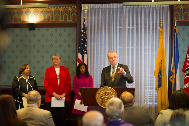 New Jersey Gov. Phil Murphy announces his most recent Cabinet appointments. From left, Zakiya Smith Ellis, who will serve as secretary of higher education; Sue Fulton, who will lead the Motor Vehicle Commission; and Deirdre Webster Cobb, who will serve chair the Civil Service Commission. (Edwin J. Torres/ Governor's Office)