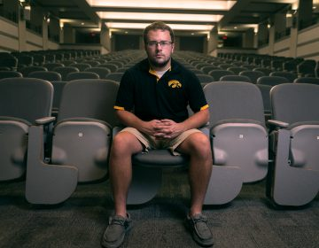 When Dustin Gordon arrived at the University of Iowa, he found himself taking lecture classes with more people in them than his entire hometown of Sharpsburg, Iowa, population 89. (Ben Smith/The Hechinger Report)
