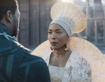 This image released by Disney-Marvel Studios shows Chadwick Boseman and Angela Bassett in a scene from