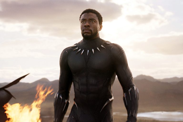 Chadwick Boseman is shown in a scene from