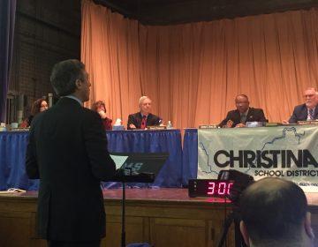 Delaware Gov. John Carney addresses the Christina School District board.