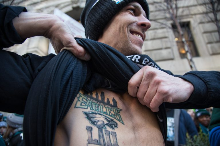 Jason Yurchak, 33, got the best present for his birthday, Eagles took home the Lombardi trophy. To mark the occassion, he went out on the day after the game and got a permanent reminder of the game. (Emily Cohen for WHYY)