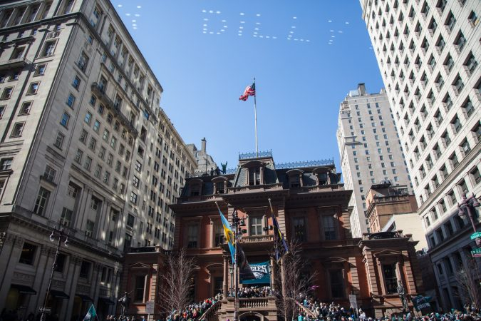 Philly Dilly. Over a million fans flocked to Center City and stood in the freezing temperatures to cheer on their winning Eagles for the Super Bowl Champions parade in Philadelphia February 8th 2018. (Emily Cohen for WHYY)