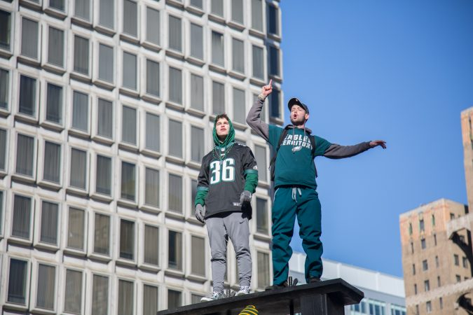 Over a million fans flocked to Center City and stood in the freezing temperatures to cheer on their winning Eagles for the Super Bowl Champions parade in Philadelphia February 8th 2018. (Emily Cohen for WHYY)