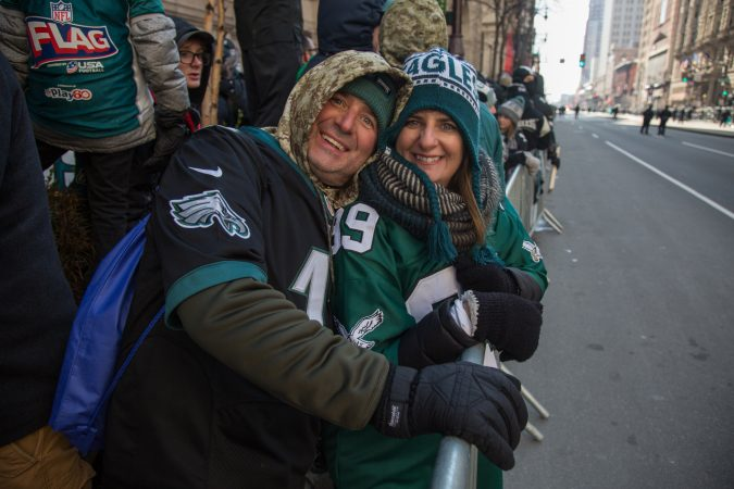 Siblings Maureen Mastropirtro and Pat Gallagher came in from FIshtown to cheer on their winning Eagles for the Super Bowl Champions parade in Philadelphia February 8th 2018. (Emily Cohen for WHYY)